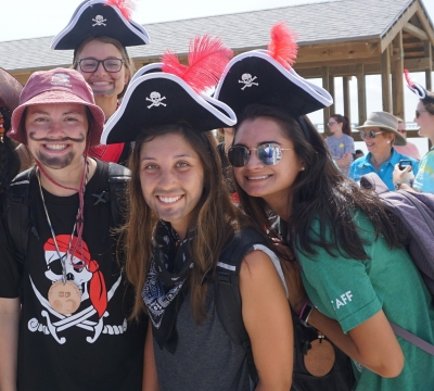 Group photo of Camp Aranzazu staff dressed as pirates.