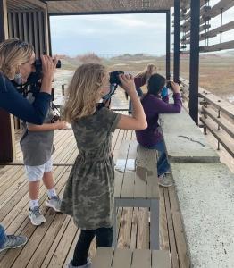 FLC Birding Team out birdwatching at Camp Aranzazu from the bird blind