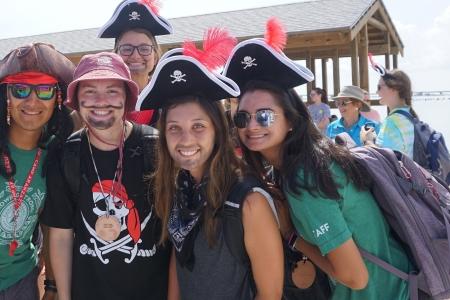 Group photo of Camp Aranzazu staff dressed as pirates.